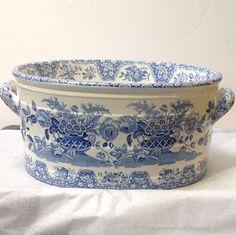 Blue floral transfer porcelain foot bath.