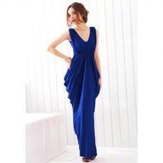 $9.01 Sweet Style V-Neck Ruffled Bowknot Design Elastic High Waist Backless Polyester Dress For Women