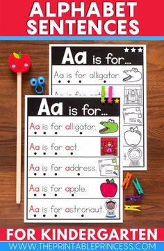 Alphabet Sentences are a great way to help students build fluency and become familiar with the letters of the alphabet and beginning sounds. Each page features 5 letter fluency sentences along with corresponding picture cues.  There are 26 beginning sound sentence pages included in this resource – 21 consonants and 5 vowels. All vowel pictures focus on the short vowel sound. A black and white version is also included.