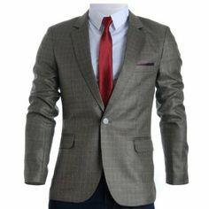 make you sexy men with Mens Slim Fit Plaid Check Premium Blazer Jacket Designer Clothes For Men, Designer Clothing, Men Online, Slim Man, Sport Coat, Mens Suits, Blazer Jacket, Fit, Sexy Men