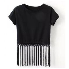 Crop Top With Strip Fringe ($20) ❤ liked on Polyvore featuring tops, shirts, crop tops, t-shirts, fringe top, shirts & tops, fringe shirt, fringe crop top and shirt crop top
