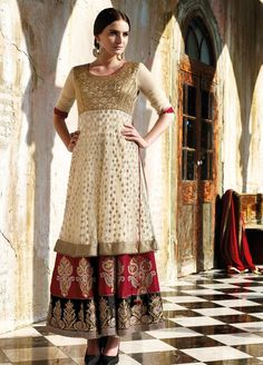 Champagne and Red Layered Anarkali