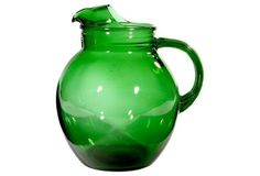 1950s Forest Green Glass Pitcher
