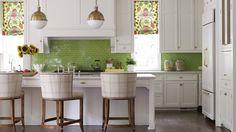 Lime green subway tiles as kitchen backsplash, patterned window shades | Katie Rosenfeld