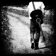 """Guitar Photography Black and White Grey by VictoriaEnglishCharm, $15.00: """"Where will the road take me oh Lord?"""""""
