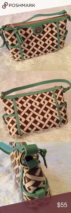 Spartina 449 Handbag Gently Pre-Loved & In Excellent Condition / Chocolate Brown & Vanilla French Linen w/Teal Genuine Leather Trim & Gold Accents / Clean Interior Spartina 449 Bags Shoulder Bags