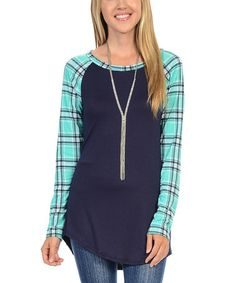 Another great find on #zulily! Navy Plaid Sleeve Raglan Tee #zulilyfinds