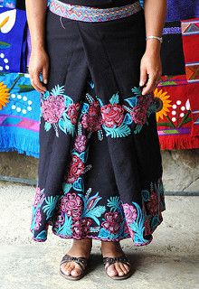 Flower Skirt Mexico | by Teyacapan. This woman from Zinacantan Chiapas Mexico wears a black skirt embroidered with flowers