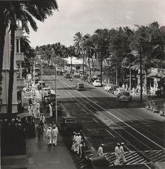 Honolulu, Hawaii, Kalakaua Avenue, 1940s, WWII, Sailors   by photolibrarian
