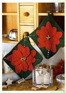 Crochet poinsetta with diagram