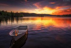 Jezioro, Łódka, Zachód Słońca