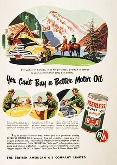 1949 BA Peerless Motor Oil original vintage advertisement. Gorgeous color illustration featuring a highway gas station. You can't buy a better motor oil.