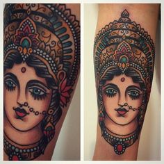 Traditional style Rukmini tattoo on the right inner arm. Rukmini (or Rukmani) is the principal wife and queen of the God Krishna, the king of Dwaraka.