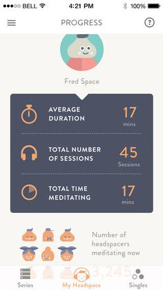 Headspace app for mindfulness meditation Web Design, App Ui Design, Mobile App Design, Mobile Ui, Interface Design, User Interface, Menue Design, Headspace App, Mindfulness Training