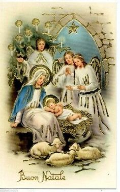 Antique Christmas Postcard, Christmas manger with angels Vintage Christmas Images, Antique Christmas, Vintage Holiday, Christmas Pictures, Italian Christmas, Primitive Christmas, Country Christmas, Outdoor Christmas, Christmas Manger