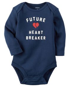 Carter's Baby Boys' Future Heart Breaker Bodysuit: One day he'll be a future heartbreaker but until then keep him warm and comfy in this lapped shoulder bodysuit from Carter's. Toddler Outfits, Baby Boy Outfits, Kids Outfits, Easy Outfits, Future Hearts, Valentines Day Baby, Valentine Ideas, Valentine's Day Outfit, Outfit Ideas