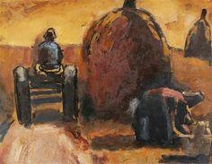 Josef Herman, Harvesting, Spain, 1959 Oil on paper mounted on masonite on ArtStack #josef-herman #art