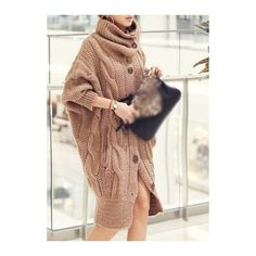Rotita Oversized Chunky Knit Sweater (46 CAD) ❤ liked on Polyvore featuring tops, sweaters, light tan, over sized sweaters, turtleneck sweater, long sleeve sweater, long sleeve tops and long sweaters