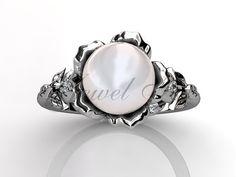 14 k or blanc perle diamant rare unique floral bague par Jewelice