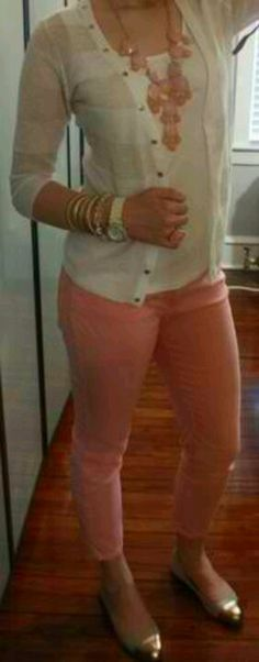 Coral pants with gold tipped flats