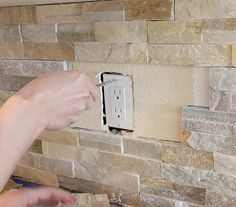 DIY: How to Plan for and Install a Stacked Stone Wall + Tips on Installing Shelving, Hiding Outlets, etc - Kitchen Chronicles - via Jenna Sue Design Blog