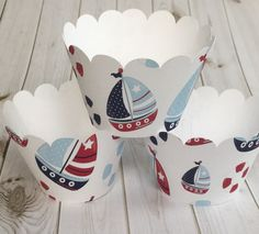 Cupcake Wrapper Red, White, Blue Sailboat For Birthday Celebration, Nautical Baby Shower