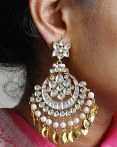 Gold Kundan Chand Bali Earrings whitegoldMAE364e