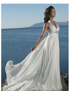 Sexy V-neck with Halter and Cross Straps, Hanging Back Waist  with Chapel Train, Summer Wedding Dress WM-0215