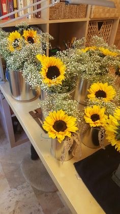 Rustic Wedding Centerpieces Sunflowers And Babys Breath In Tin Paint Cans