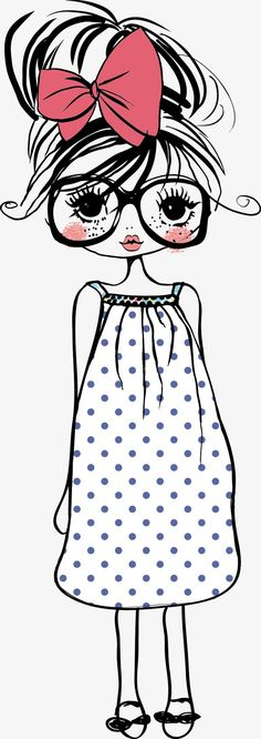 Girl Cartoon Drawing Illustration, Cute cartoon girl, girl wearing white and blue polka-dot dress with pink bow illustration PNG clipart Cute Cartoon Girl, Simple Cartoon, Cartoon Drawings, Cute Drawings, Cartoon Art, Cartoon Characters, Cartoon Mignon, Line Doodles, Motif Art Deco