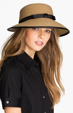 My dream sun hat: Just a touch of retro and great for travel.  Ribbon-trimmed woven straw hat is designed to be packed without damaging its face-flattering shape.