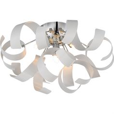 Ribbons Flush Mount White Ceiling Light RBN1616W by NorthupGallery