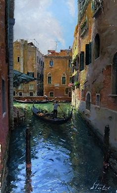 Venice by Kyle Stuckey Oil ~ 26 x 16 Landscape Drawings, Landscape Paintings, Landscapes, Venice Painting, Painting Competition, Artwork Images, Santa Lucia, Online Painting, Venice Italy
