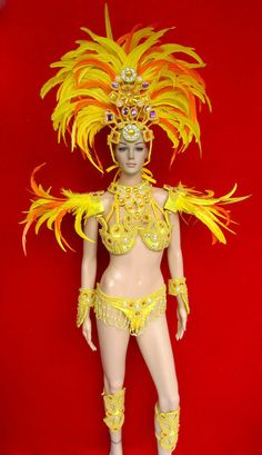 C076 Samba Parade Drag Carnival Rio Dancer Headdress Costume Set XS-XL