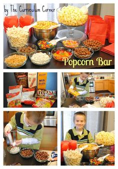 sleepover night Popcorn Bar by The Curriculum Corner - a great party idea that your kids can help set up! Movie Night Party, Movie Nights, Kids Movie Party, Halloween Movie Night, Movie Night Snacks, Night Parties, Halloween Party, Sleepover Party, Sleepover Games