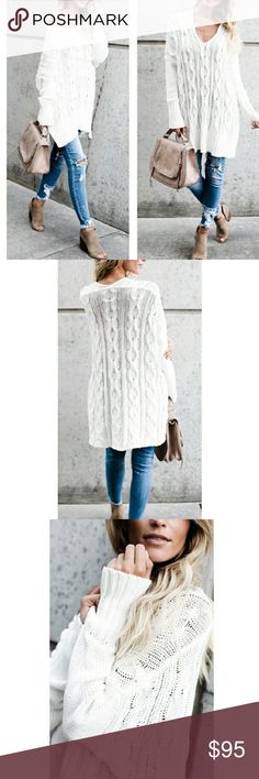 Cable Knit Oversized Tunic Sweater Great for a casual date or a lunch date with your girls 😁💟💞 Label says cream color, bit looks like slightly off white to me  50% polyester  50% acrylic Sweaters