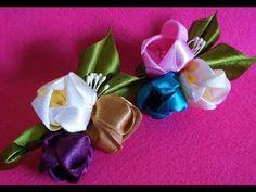 "Нежная летняя повязка ""Поленька"" / Цветок канзаши kanzashi flowers - - YouTube"