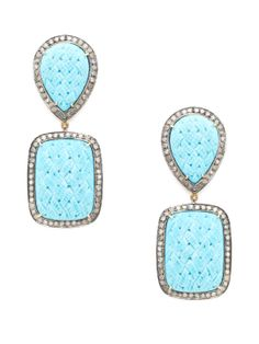 Braided Carved Turquoise & Diamond Double Drop Earrings by Jennifer Miller at Gilt