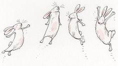Rabbit Drawing, Rabbit Art, Rabbit Illustration, Illustration Art, Painting Illustrations, Watercolor Paintings, Cute Animal Drawings, Cute Drawings, Anita Jeram