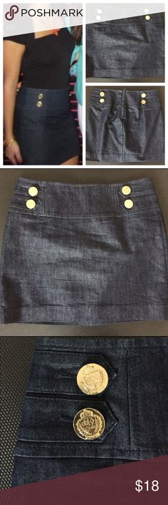 Express dark denim nautical skirt Only worn once! Express Women's Size 0 Denim Miniskirt with Gold Buttons. Zipper on the back.  Great condition. Express Skirts Mini