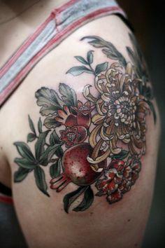 Pomegranate bouquet by Kirsten Holliday at Wonderland Tattoo, Portland Oregon Make Tattoo, I Tattoo, Tattoo Quotes, Things To Do Tomorrow, Pomegranate Tattoo, Sorry Mom Tattoo, Wonderland Tattoo, Cover Up Tattoos, Future Tattoos