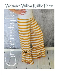 Willow Ruffle Pant Sewing PDF Pattern in Teen and Women's Sizes With Y – GreenStyleCreations