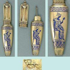 Antique French Figural Enameled Silver Gilt Needle Case * Greek Urn * C1890s