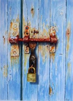 Freedom and/or limitations. watercolor by Avril Soldani Watercolor Artists, Watercolor Print, Watercolor Paintings, Watercolours, Old Doors, Pastel Art, Painted Doors, Painting Inspiration, Oeuvre D'art
