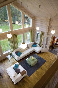 Kuvagalleria - Kontio Hirsitalot ja Hirsihuvilat Modern Cabin Interior, Modern Farmhouse Decor, Farmhouse Design, Cabin Design, Cottage Design, Timber House, Wooden House, Log Home Designs, Wood Home Decor