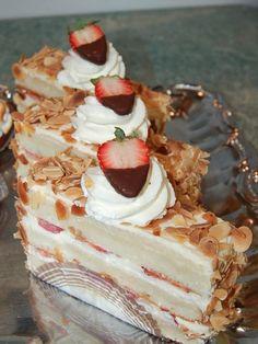 French Dessert Frasier - Chiffon Cake layered with strawberries & pastry cream
