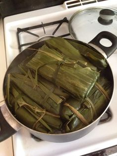 Cassava wrapped with banana leaves. Always a good. Tray for all seasons