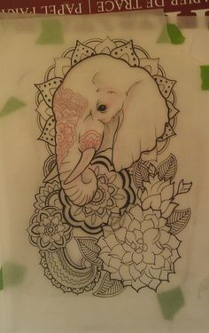 Minus the lotus flowers and henna on elephant, sub in a different kind of flower and other surrounding details for a less Indian look. I basically like the angle of the elephant. Good for Great-aunt Gladys's tattoo. Will put Grandma's memorial tattoo mirroring this.