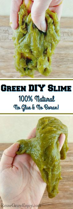 Looking for something fun to do with the kids? I have found a way to make green DIY Slime that is 100% natural! No glue and no borax!