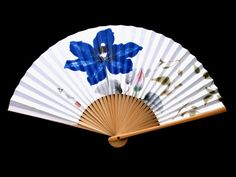 Hand Fan Flowers F19 Japanese Paper Bamboo by VintageFromJapan